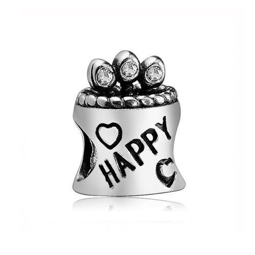 April Birthstone White Crystal Birthday Cake Charm 925 Sterling Silver Pandora Compatible