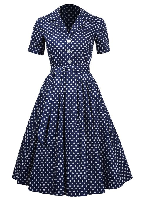 1950s Shirt Dress - Dotty - Fashion 1930s, 1940s & 1950s style - vintage reproduction