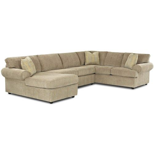 Klaussner Julington Transitional Sectional Sofa with Rolled Arms and Left Chaise