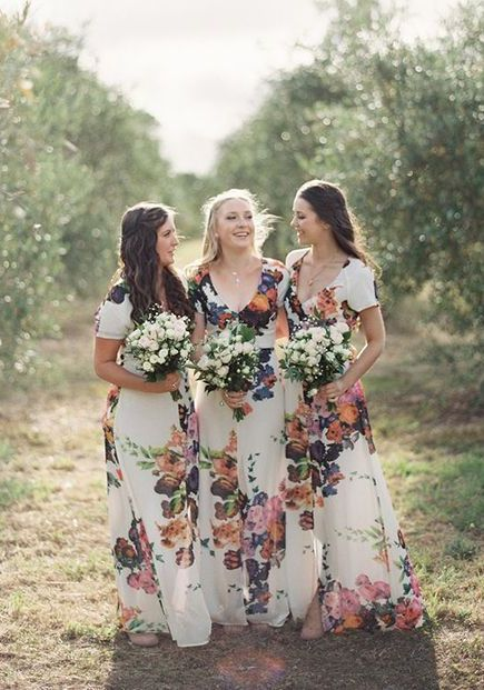 How unique! 15 Fantastic Floral Bridesmaid Dresses Ideal For An Ultra-Romantic Wedding