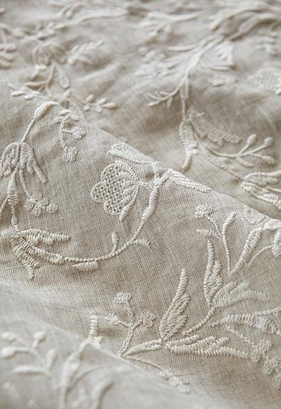 Embroidered Linen | Fresh Farmhouse, shop DesignNashville.com for embroidered linen bedding and draperies custom made shipping to you.