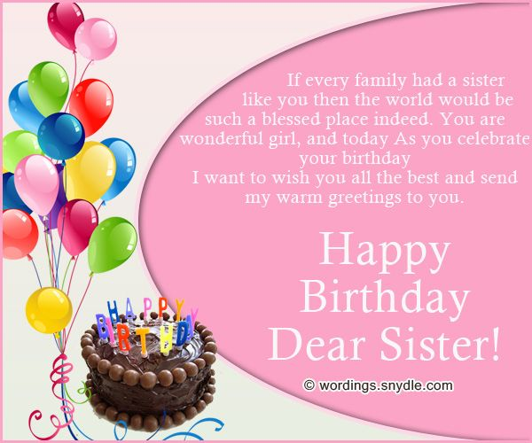 17 Best Ideas About Sister Birthday Message On Pinterest