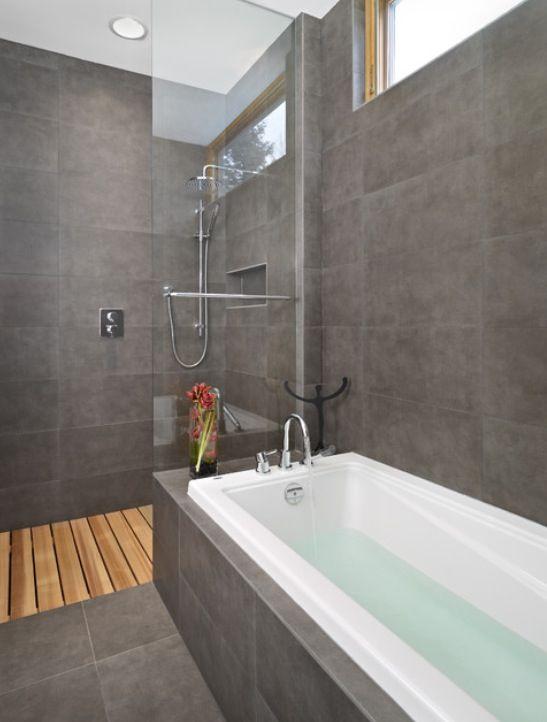 Bathroom - timber flooring, slate tiles ensuite