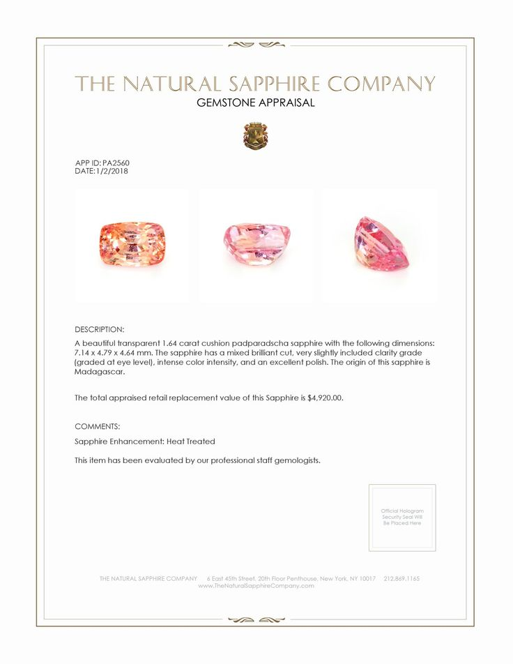 Natural Padparadscha Sapphire PA2560 Certification 4