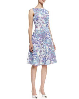 Sleeveless Floral Print A-Line Cocktail Dress, Multicolor by Kalinka at Neiman Marcus.