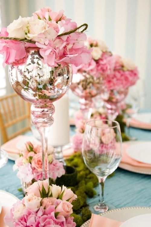 beautiful pink and mercury glass centerpiece. Perfect for bridal or baby shower or Summer party
