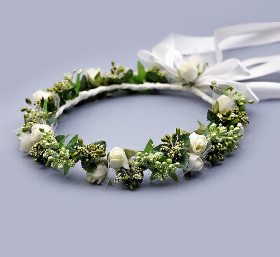 Hair wreath green Woodland Crown forest crown by FloralHeadpiece