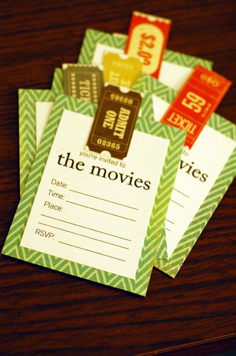 Cute idea for movie party invites.