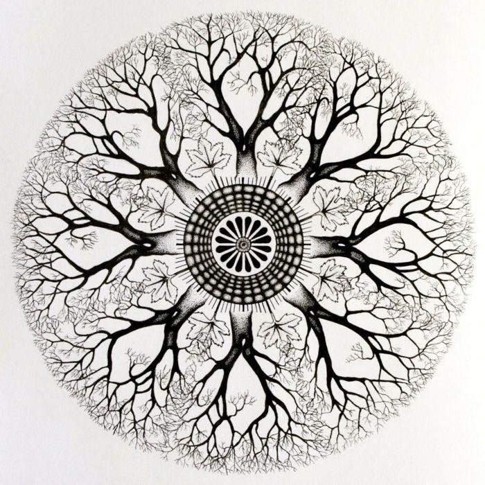 comment faire une rosace, mandala blanc et noir, motifs arbres, branches, gouttes d'eau, dessin blanc et noir