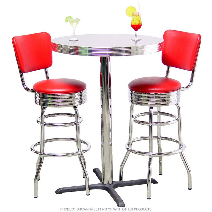 Pub Table Double Ring Bar Stool Set