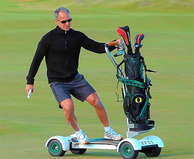 Golfboard - Endorsed by Superman/Super Surfer Laird Hamilton & designed by the founder of Bally Fitness Don Wildman, Golfboard is a hybrid blending the electric skateboard with a mountain board, a golf cart & a Segway.