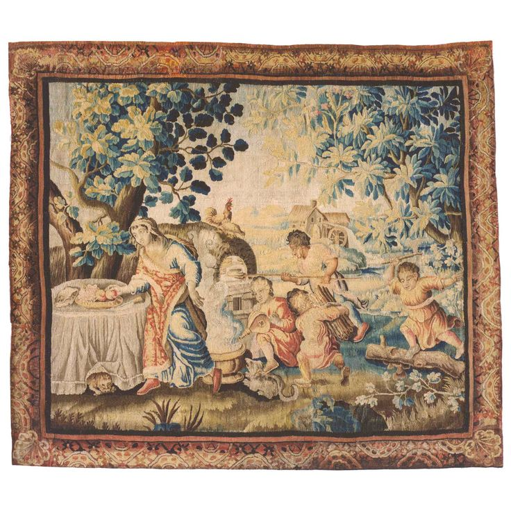Antique 18th Century French Aubusson Rustic Tapestry of a Family Preparing Lunch   1stdibs.com