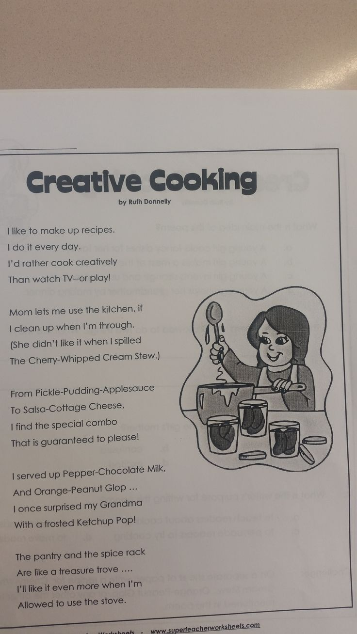 Creative cooking poem and Freckle Juice will be used as models for a compare and contrast activity. @CompareConstrast