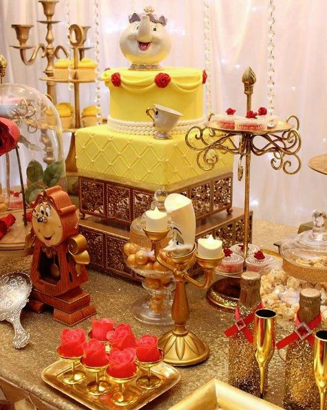 Quinceanera Beauty & the Beast Theme Ideas | Cake by Patty Cakes Tasty Bakes | Dessert Table by Chakoda Design |