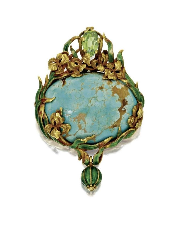 Marcus & Co. | Gold, Turquoise, Peridot and Enamel Pendant-Brooch. Circa 1900.