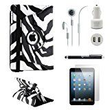 iPad Mini 5-in-1 Accessories Bundle Zebra Rotating Case