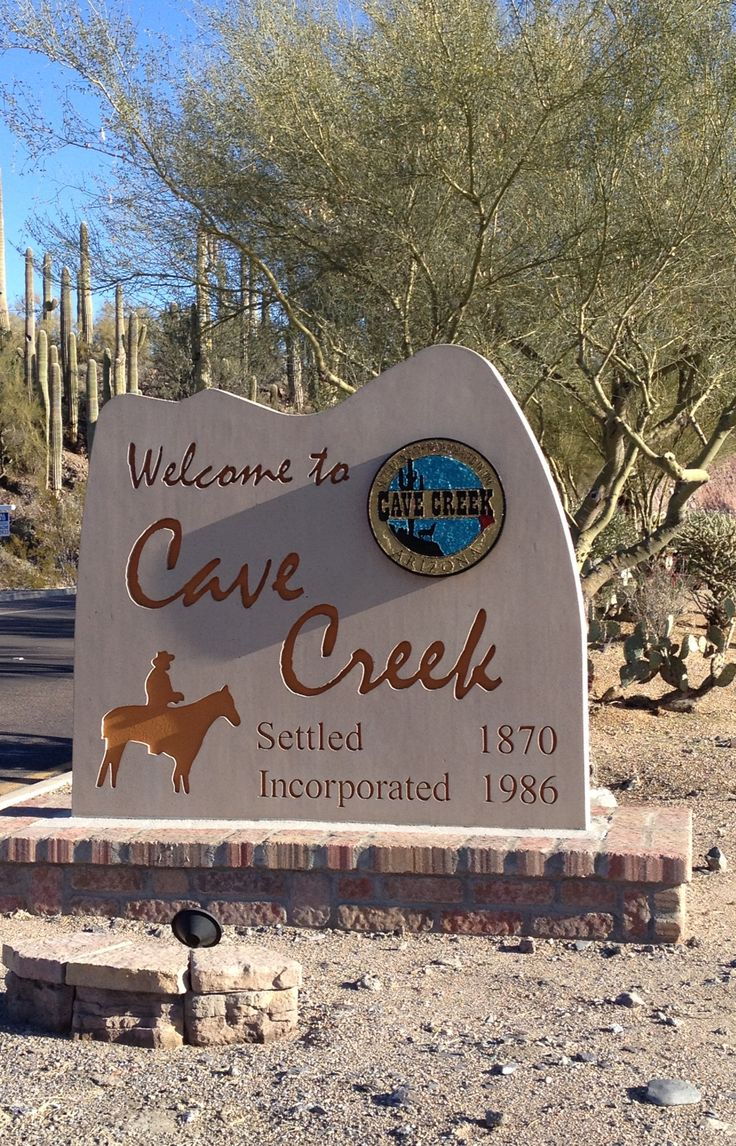 Entry monument to Cave Creek, AZ.