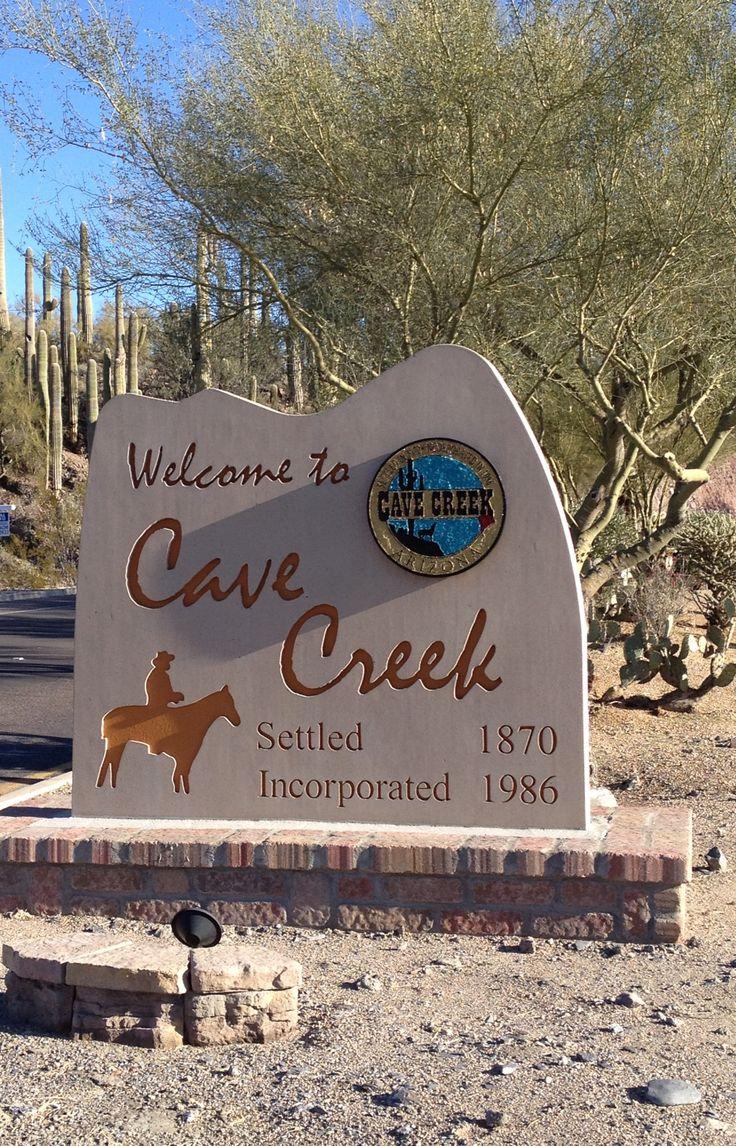 Entry monument to Cave Creek, AZ.