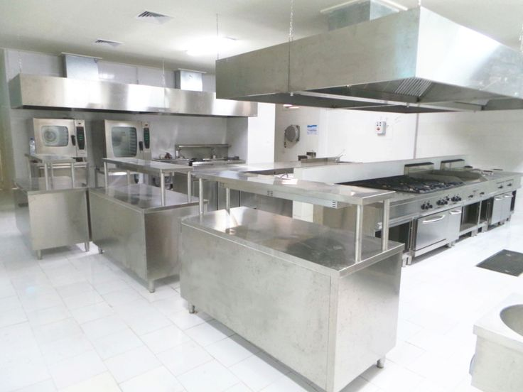 Stainless steel kitchen. Commercial kitchen. Food service equipment.