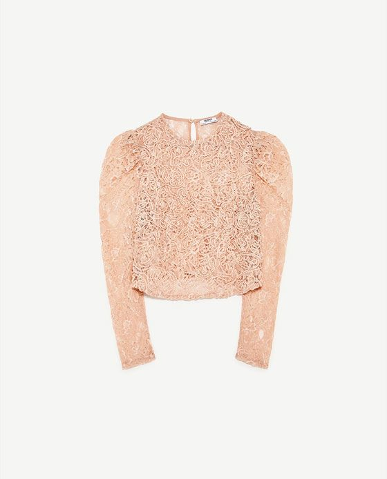 Image 6 of CROPPED T-SHIRT WITH LACE from Zara
