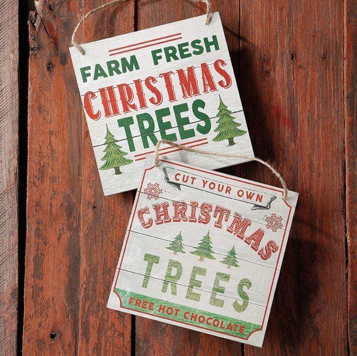 Raz 8 Wooden Christmas Trees Sign Ornament 3616345 Christmas Tree Themes Fresh Christmas Trees Vintage Inspired Christmas Ornaments