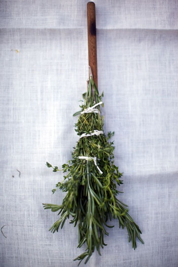 The Herb Brush: A Great Summer BBQ Tool by Adam Perry Lang [as seen on today's Today Show]- using kitchen twine and a long wooden spoon, tie on your favorite herbs and dip in oil to baste your favorite meat on the grill.