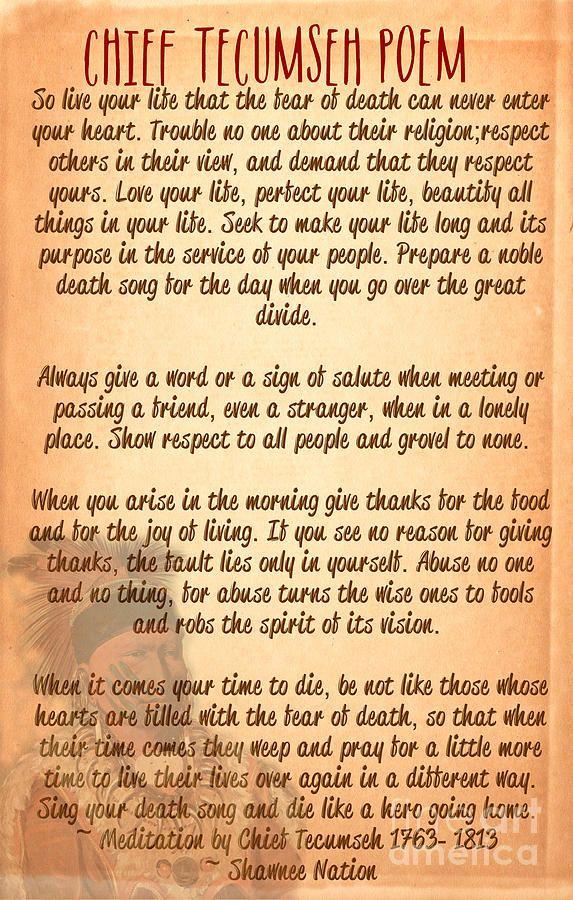Chief Tecumseh Poem - Live Your Life Digital Art