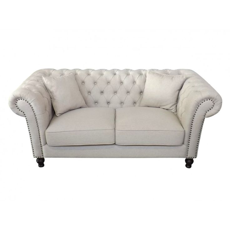 Linen Chesterfield Two Seat Sofa