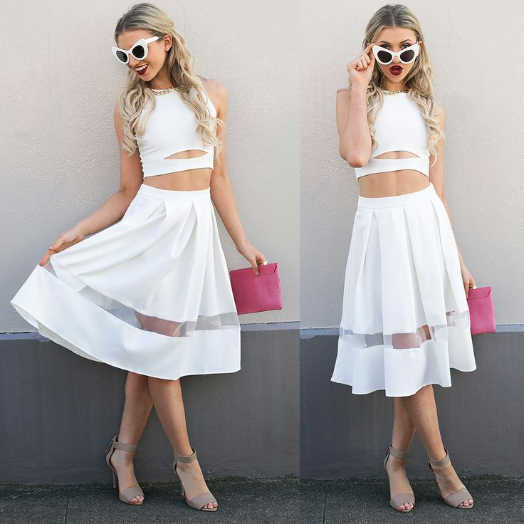 Shop @ http://bb.com.au midi skirt, mesh panels, all white fashion, pink clutch, nude heels, outfit inspo, sunday style, lime crime, velvetines, envelope clutch, white crop, cut outs, UNIF, cat eye sunglasses, white sunglasses