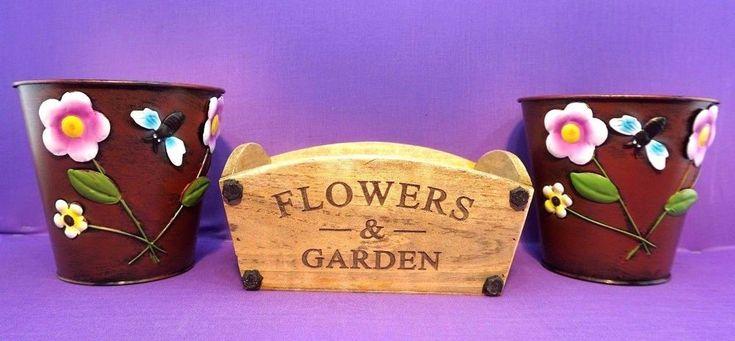 """2 Large Colourful Metal Flower Plant Pots 6"""" Planter 1 wood"""