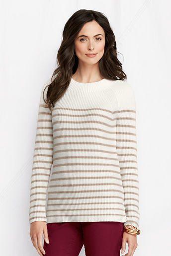 Lands' End Women's Stripe Lofty Cotton Blend Shaker Tunic on shopstyle.com.au