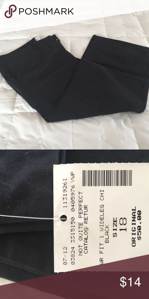 Lands End Wide Leg Khaki Pants Black Very Wide Leg. Purchased at outlet, may have imperfection but haven't found any. Lands' End Pants Wide Leg