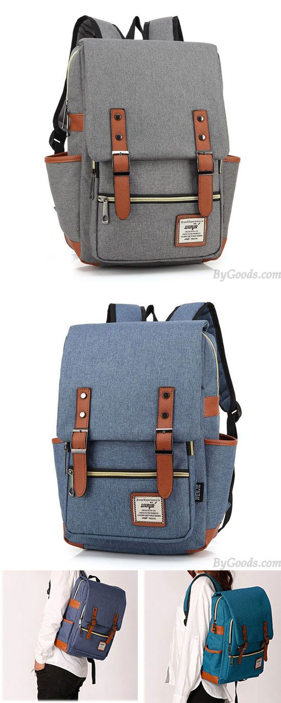 Blue or gray? Vintage Travel Backpack Leisure Canvas With Leather Backpack&Schoolbag #backpack #college #student #bag #women #school #canvas #leisure #cute #lady #girl