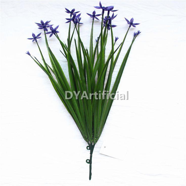 30cm Artificial Onion grass Bush with purple flowers