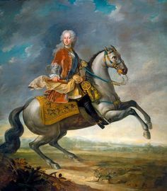 """""""Frederick, Prince of Wales"""" 1707 – 51 by Joachim Kayser (1727) in the Royal Collection, UK - From the curators' comments: """"This portrait is a collaboration between two artists working in Germany: Joachim Kayser and Johan Anton von Klyher....The Prince rides a grey horse rearing to the right, holding a red baton in his right hand; a low extensive landscape beyond; he wears a red-brown jacket over a cuirass, long powdered hair, the riband of the Garter; light blue saddlecloth."""""""