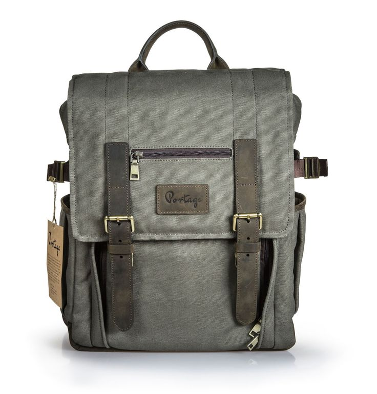 Portage // Kenora // Leather & Waxed Canvas Backpack for Camera, Laptop, and Gear