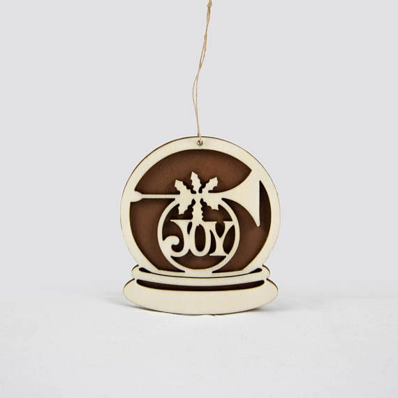 """Wooden snow globe Christmas ornament with the text """"Joy"""""""