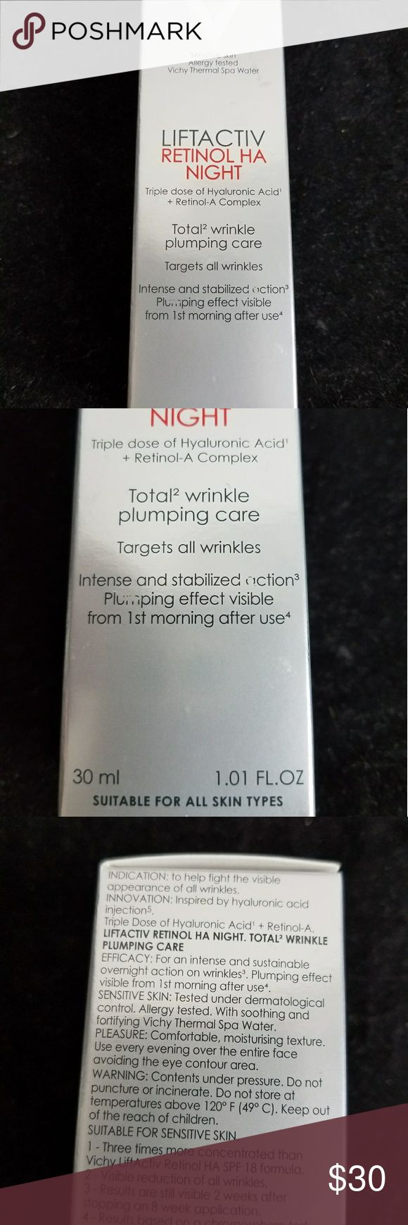 Vichy LIFTACTIV RETINOL HA NIGHT wrinkle cream Vichy laboratories  - Sensitive Skin, Allergy Tested, Vichy Thermal water. 30 no 1.01 FL.OZ  LIFTACTIV RETINOL HA NIGHT - Triple dose of Hyaluronic Acid + Retinol-A Complex. Total wrinkle plumping care. Targets all wrinkles from 1st morning after use. v Makeup