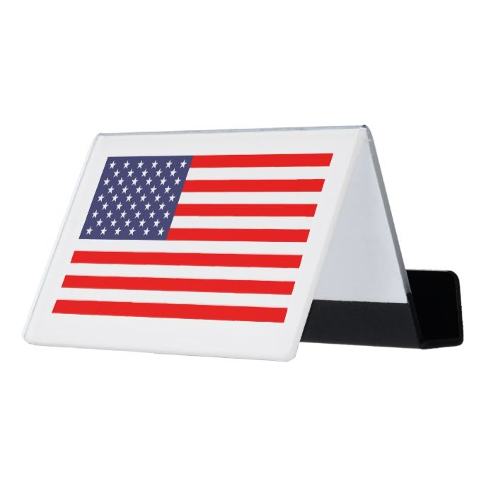 Patriotic Us Flag Custom Desk Business Card Holder Custom Office Supplies Business Logo Branding Business Card Holders Card Holder Custom Desk