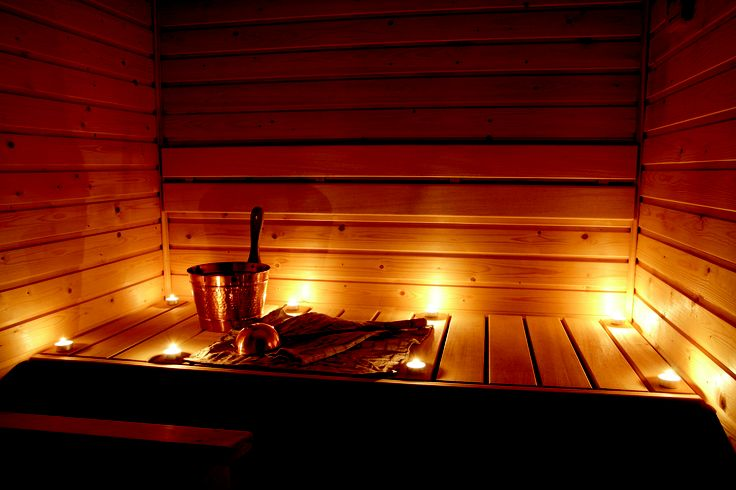 Sauna bath/Turkish bath Here people sit in a chamber in temperatures typically between 70 °C (158 °F) and 100 °C (212 °F). This induces relaxation and promotes sweating. Saunas can be divided into two basic styles: conventional saunas that warm the air or infrared saunas that warm objects. Infrared saunas may use various materials in their heating area such as charcoal, active carbon fibers, and other materials
