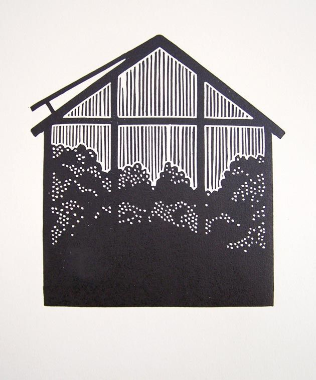 Small Worlds - linocut, 2013, Barbora Hermanova
