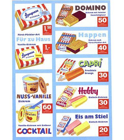 Vintage ice cream menu – Langnese 1961