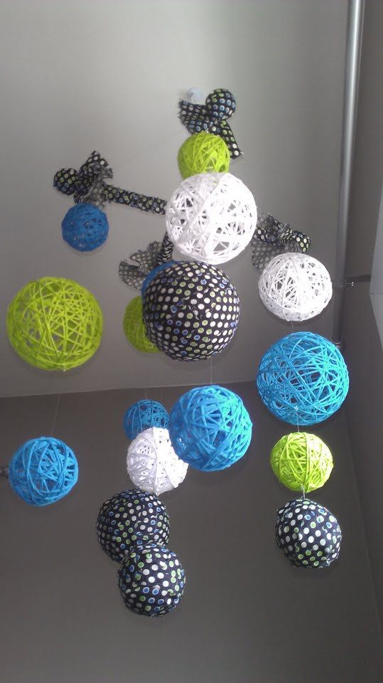 Blue and Green Yarn & Fabric Ball Baby Mobile (from http://www.etsy.com/listing/119579822/sale-10-off-blue-and-green-yarn-fabric?ref=v1_other_2)