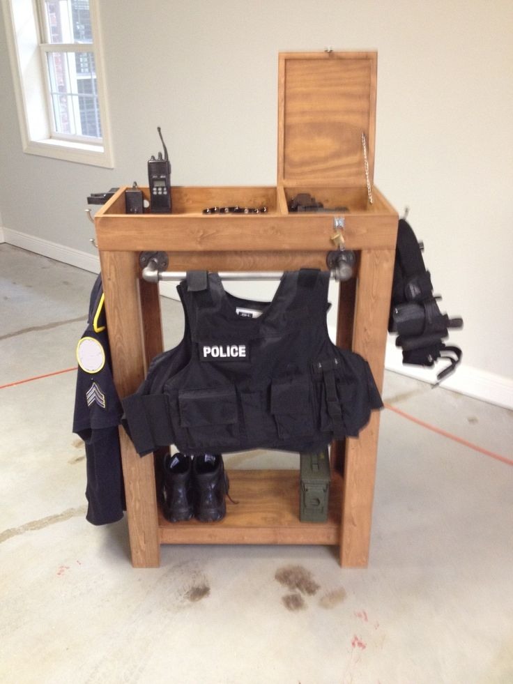 Police Gear Storage Unit. This has received a bunch of re-pins.  If you want info on it email me at:  gpd132@gmail.com.  Check my page for the new version.