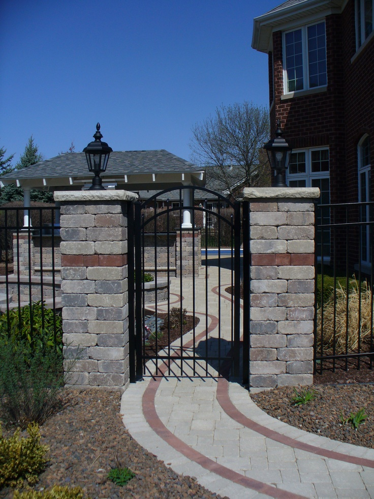 Arched Aluminum Gate With Brick Pillars Backyard Gates