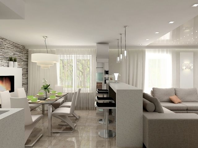 Wohnzimmer Essbereich Kuche In Einem Beispiel Einrichtung Wohnzimmer Mit Offener Kuche Kuche Und Wohnzimmer Wohnung Wohnzimmer