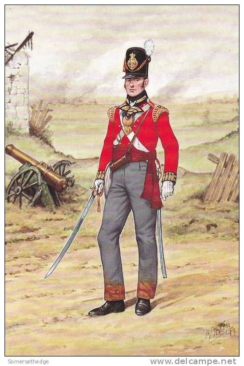 Officer 23rd Royal Welch Fusiliers Regiment 1815 - During the Napoleonic Wars, they served from 1810 to 1814 in the Peninsular War; fighting at Albuera, Badajoz, Salamanca, the Pyrenees, Nivelle and Toulouse and took part in the Battle of Waterloo where they fought in the 4th Brigade under Lt-Col. Hugh Henry Mitchell, in the 4th British Infantry Division