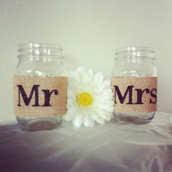 Tan Burlap Mr And Mrs Mason Jar Set Burlap Wedding Decorations Mason Jar  Wedding Decoration Mason