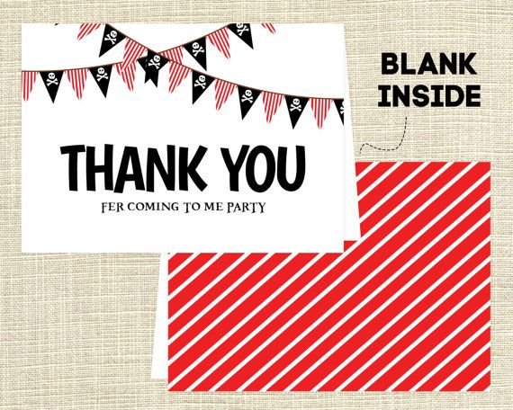 Printable Pirate Folded Thank You Note / Pirate Birthday Party / Pirate Thank You Card