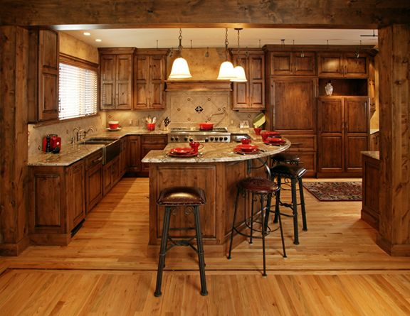 Knotty alder cabinets knotty alder dark stained for Black kitchen cabinet doors